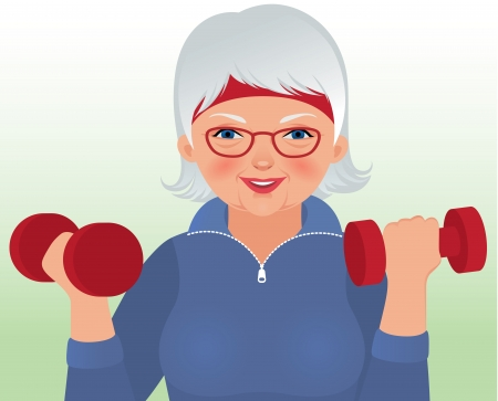 Photo for Vector illustration elderly woman in sportswear holding a dumbbell - Royalty Free Image