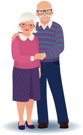 Illustration for Vector illustration of a loving elderly couple - Royalty Free Image