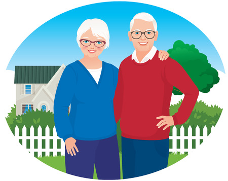 Illustration for Elderly husband and wife are each other\'s arms on the background of your own home - Royalty Free Image
