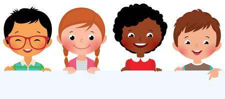Illustration pour Stock Vector illustration of cute kids holding a blank banner - image libre de droit