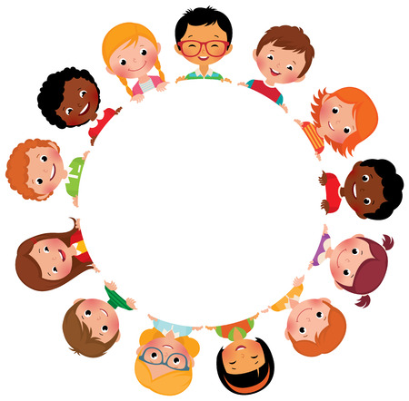 Illustration pour Stock vector illustration of kids friends from around the world around the white circle - image libre de droit