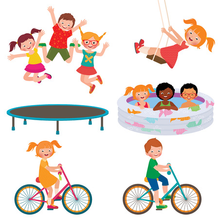 Illustration for Stock Vector cartoon illustration of summer children activities - Royalty Free Image