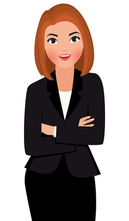 Ilustración de Stock vector cartoon illustration young business woman with arms folded isolated on white background - Imagen libre de derechos