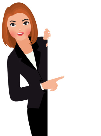 Photo pour Stock vector cartoon illustration young businesswoman in suit holding large blank white sign. - image libre de droit