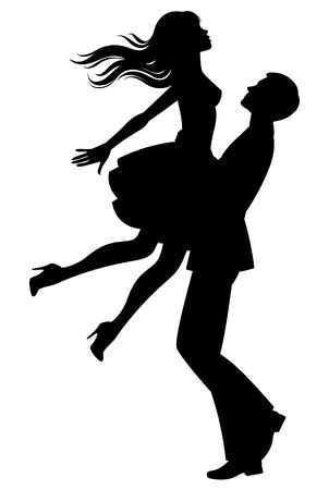 Illustration pour Stock vector illustration of a silhouette of couple of lovers in each others arms - image libre de droit