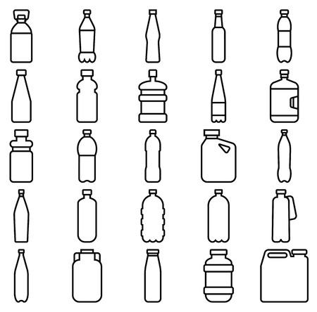 Ilustración de Stock vector illustration of a set of plastic bottles and other containers - Imagen libre de derechos
