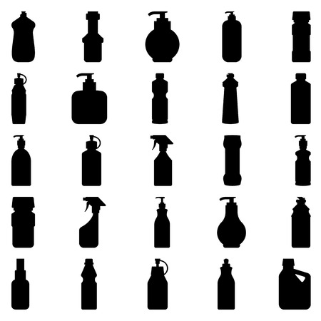 Illustration pour Stock vector illustration set of silhouettes of containers and bottles household chemicals - image libre de droit