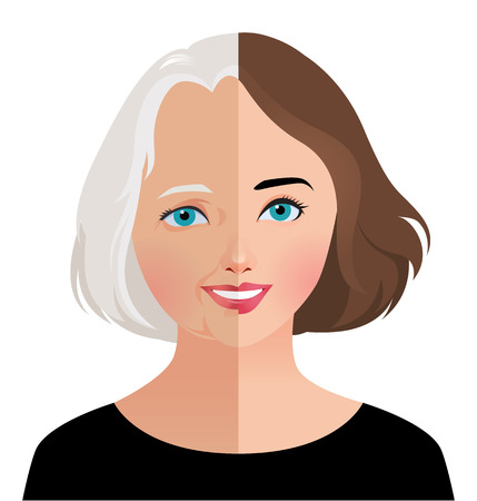 Illustration pour Stock vector illustration of beauty and skin care woman face before and after rejuvenation facelift - image libre de droit