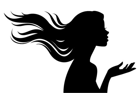 Illustration for Stock vector illustration of a silhouette of a beautiful girl in profile with long hair isolated on a white background - Royalty Free Image
