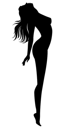 Stock vector illustration of a silhouette of a naked girl in profile isolated on white background