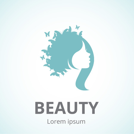 Illustration for Vector silhouette of a girl in profile template icon or an abstract concept for beauty salons, spa, cosmetics, fashion and beauty industry - Royalty Free Image