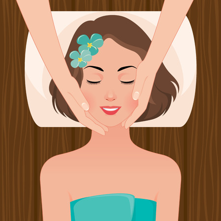 Ilustración de Stock vector illustration beautiful woman taking facial massage treatment in the spa salon - Imagen libre de derechos