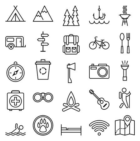 Illustration pour Stock vector illustration big set linear icon camping and tourism - image libre de droit