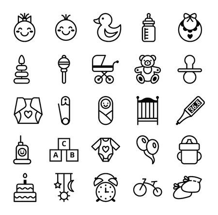 Illustration pour Big set of vector icons black white baby and accessories - image libre de droit