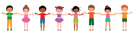 Illustration pour Stock Vector cartoon illustration large group of children of different ethnic isolated on white background - image libre de droit