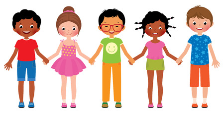 Illustration for Stock Vector cartoon illustration of children friends holding hands isolated on white background - Royalty Free Image
