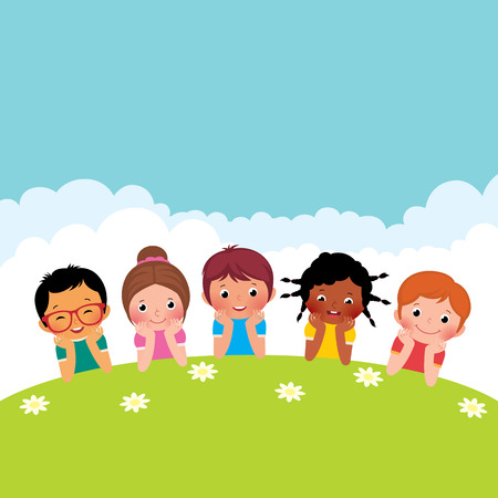 Illustration pour Stock Vector cartoon illustration of a group of happy children boys and girls lying on the grass - image libre de droit