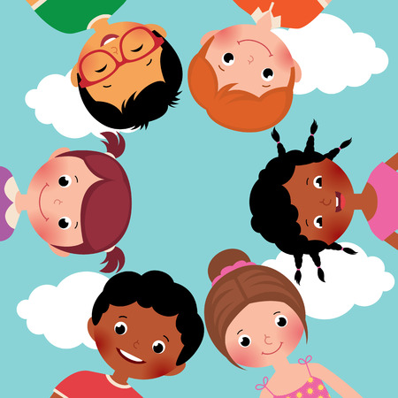 Illustration pour Stock Vector cartoon illustration of happy kids boys and girls in the circle - image libre de droit