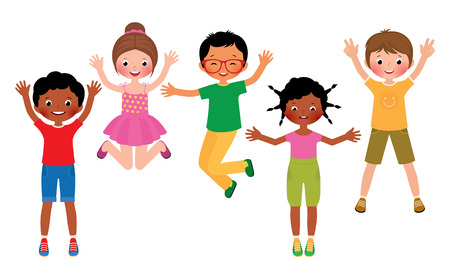 Stock Vector cartoon illustration of a group of happy children jumping isolated on white background