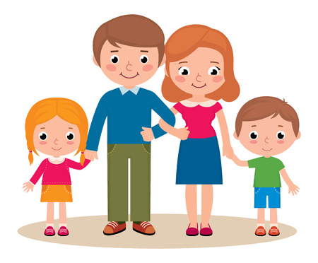 Ilustración de Stock Vector cartoon illustration of a family portrait of parents and their little children - Imagen libre de derechos