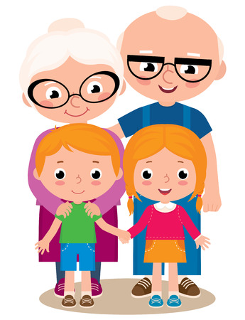Illustration for Vector cartoon illustration of grandparents with their grandchildren boy and girl isolated on white background - Royalty Free Image