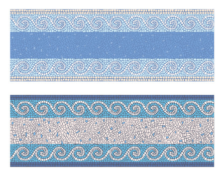 Illustration pour Stock vector illustration seamless mosaic border in antique style - image libre de droit