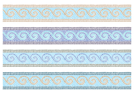 Illustration pour Stock vector illustration of vintage mosaic in the Byzantine style seamless border - image libre de droit
