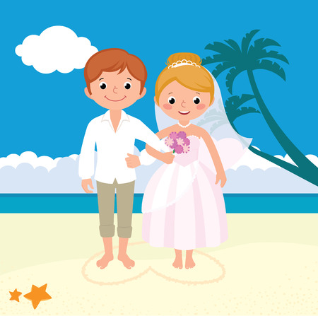 Photo pour Stock vector illustration wedding newly married couple on the beach - image libre de droit