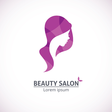 Vector template abstract logo for beauty salon stylized profile of a young beautiful woman