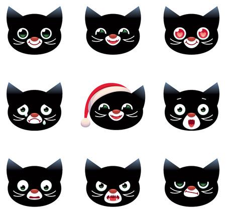 Set of vector cartoon smilies black cats