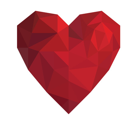 Illustration pour Vector illustration red heart in low poly triangle style for Valentine Day isolated on white background - image libre de droit