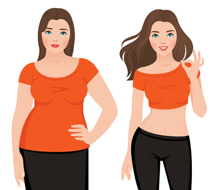 Ilustración de Before and after weight loss fat and slim woman on a white background illustration - Imagen libre de derechos