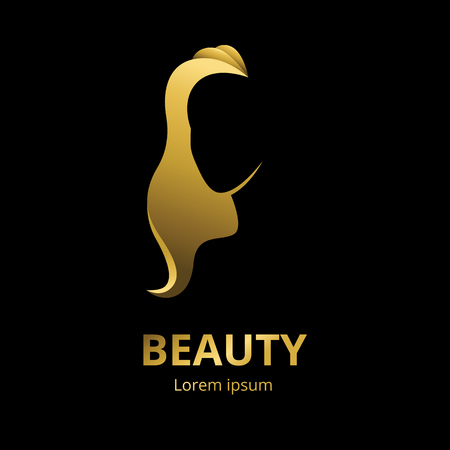 Illustration pour Vector golden silhouette of a woman in profile template logo or an abstract concept for beauty salons or spa, cosmetics, fashion and beauty industry - image libre de droit