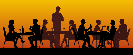 Ilustración de Silhouettes of people sitting at tables in a restaurant vector illustration - Imagen libre de derechos