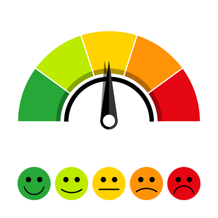Illustrazione per Rating scale of customer satisfaction. The scale of emotions with smiles. - Immagini Royalty Free