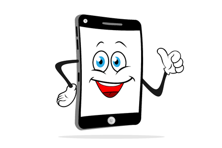 Illustrazione per Cartoon smartphone smiles and shows like. Fun vector illustration. - Immagini Royalty Free
