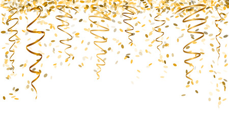 Illustration pour falling oval confetti and ribbons with gold color - image libre de droit