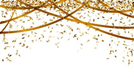 Ilustración de falling oval confetti and ribbons with gold color - Imagen libre de derechos