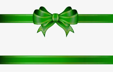 Illustration pour green ribbon and elegant bow with gold lines - image libre de droit
