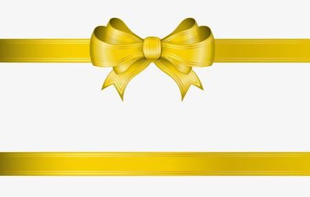 Illustration pour yellow ribbon and elegant bow with gold lines - image libre de droit