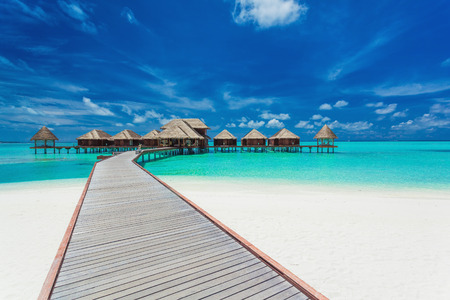 Photo for Overwater villas on the tropical lagoon, Maldives islands - Royalty Free Image