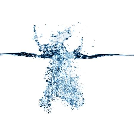 Foto de Dramatic blue water splash, water drops and air bubbles isolated on white - Imagen libre de derechos