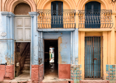 Photo for Old worn out doorway in Havana, Cuba - Royalty Free Image