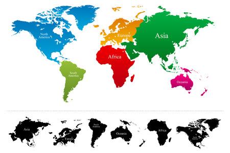 Illustration pour World map with colorful continents Atlas - Vector - image libre de droit