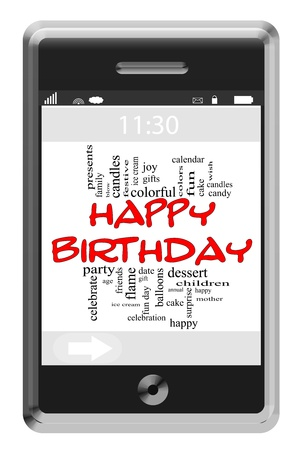 Happy Birthday Word Cloud Concept of Touchscreen Phone with great terms such as ice crea, cake, party and more.