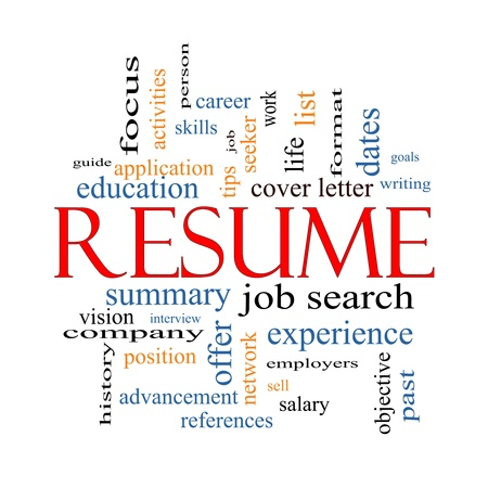 Photo for Resume Word Cloud Concept with great terms such as career, job search, interview and more. - Royalty Free Image