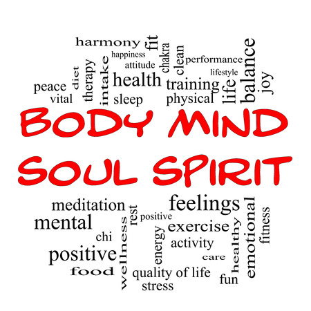 Photo pour Body Mind Soul Spirit Word Cloud Concept in red caps with great terms such as harmony, life, sleep, fit and more. - image libre de droit