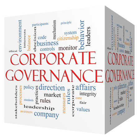 Foto de Corporate Governance 3D cube Word Cloud Concept with great terms such as code, company, rules and more. - Imagen libre de derechos