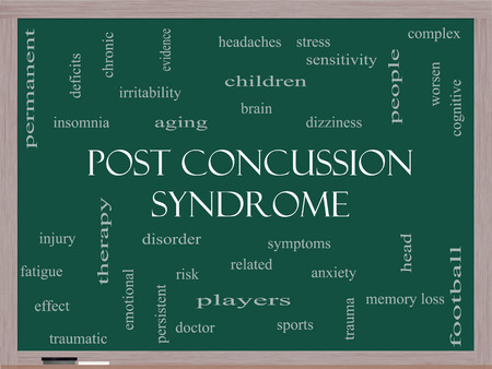 Post Concussion Syndrome Word Cloud Concept on a Blackboard with great terms such as brain, injury, trauma and more.