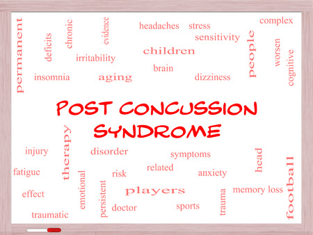 Post Concussion Syndrome Word Cloud Concept on a Whiteboard with great terms such as brain, injury, trauma and more.